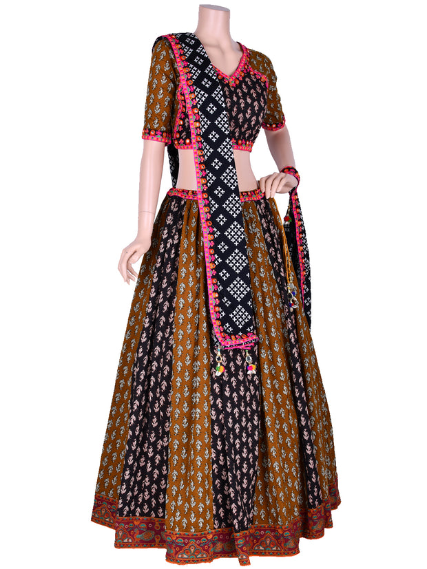Brown & Black Embroidered Chaniya Choli