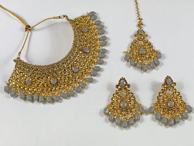 Gold and Grey Pearl Choker Costume Necklace Set