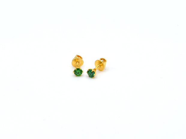 22ct Gold Green CZ Stud Earrings