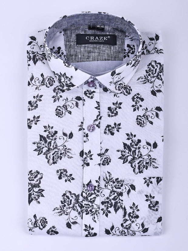 Mens Cotton Printed Slim-Fit Shirt In White & Black