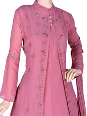 Stunning Georgette Flair Churidar In Carnation Pink