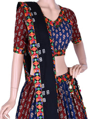 Blue & Maroon Embroidered Chaniya Choli