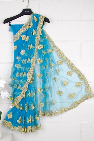 Blue Nett Sequins Saree