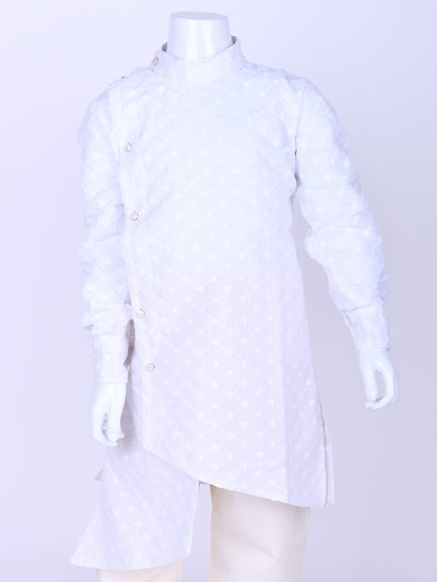 White Crosscut Cotton kurta