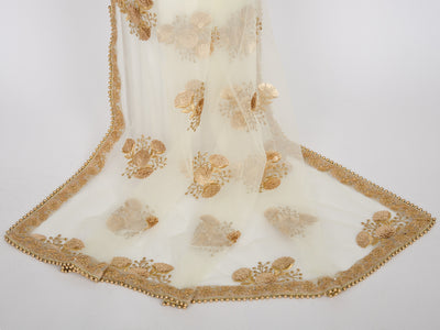 Cream Netting Embroidered Dupatta