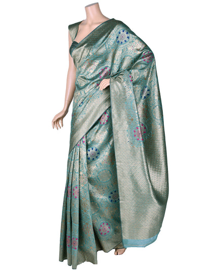 Beautiful Silk Saree In Turquoise