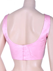 Stylish Satin Saree Blouse In Baby Pink