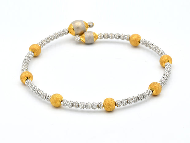 22ct Gold Two Tone Laser Cut Ball 1 Piece Bangle