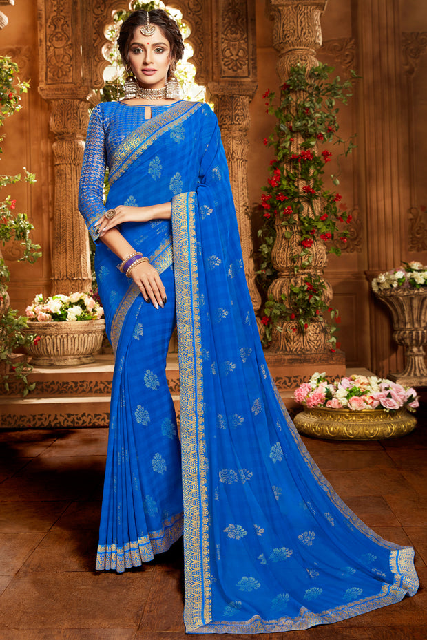 Trendy Royal Blue Printed Deisgner Border Saree