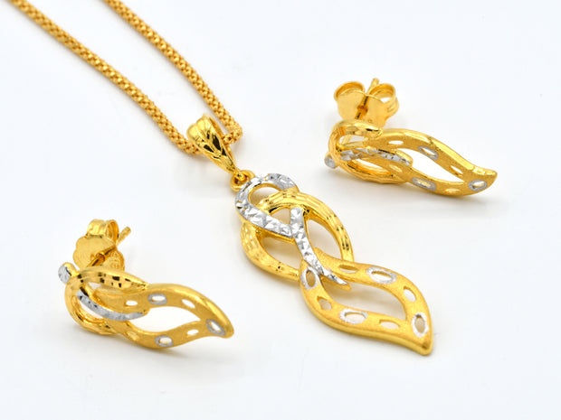 22ct Gold Two Tone Pendant Earrings Set