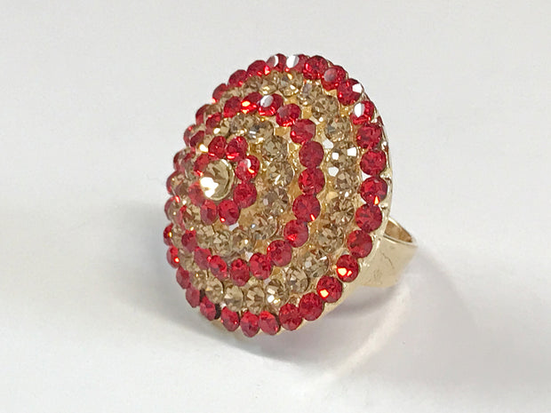 Red With Gold Round Design Ring