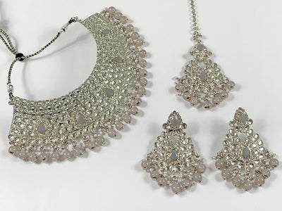 Silver and Grey Pearl Choker Costume Necklace Set