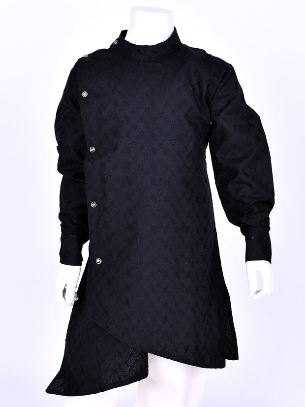 Black Crosscut Cotton kurta