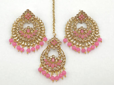 Light Pink & Gold Costume Earrings With Tikka