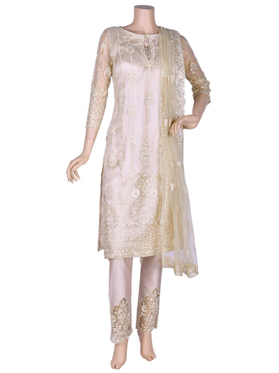 Gold Nett Straight Cut Embroidered Suit