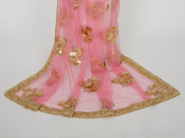 Light Pink Netting Embroidered Dupatta