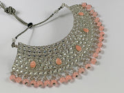 Silver and Peach Pearl Choker Costume Necklace Set