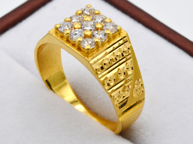 22ct Gold CZ Cluster Mens Ring