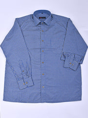 Mens Checks Shirt In Royal Blue
