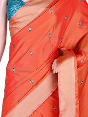 Stunning Silk Embroidered Saree In Rusty Orange