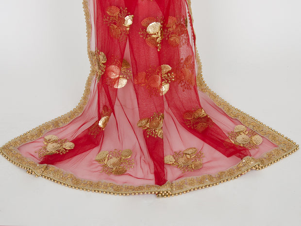 Red Netting Embroidered Dupatta
