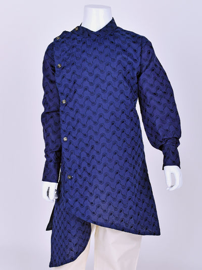 Blue Crosscut Cotton kurta