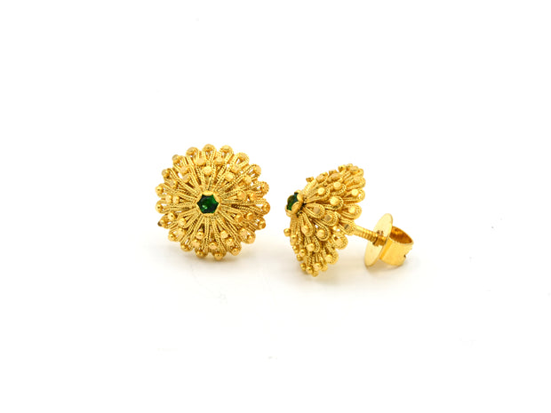 22ct Gold Green CZ Flower Stud Earrings
