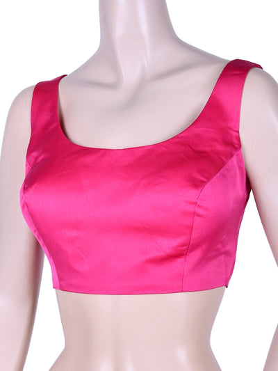 Stylish Satin Saree Blouse In Rose Pink