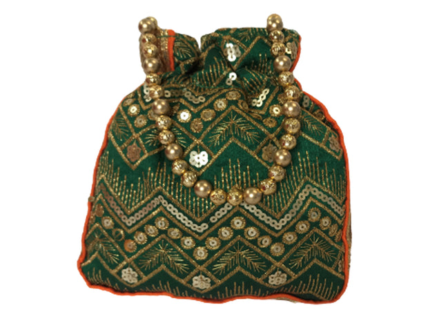 Bottle Green Embroidered Potli Bag