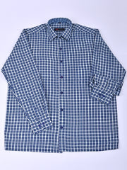 Mens Cotton Checks Shirt In White & Blue