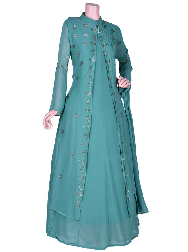 Stunning Georgette Flair Churidar In Sage Green