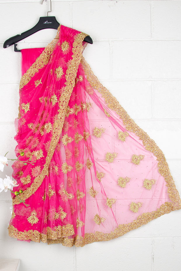 Hot Pink Nett Sequins Saree