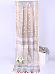 Cotton Weaved Saree In Grey