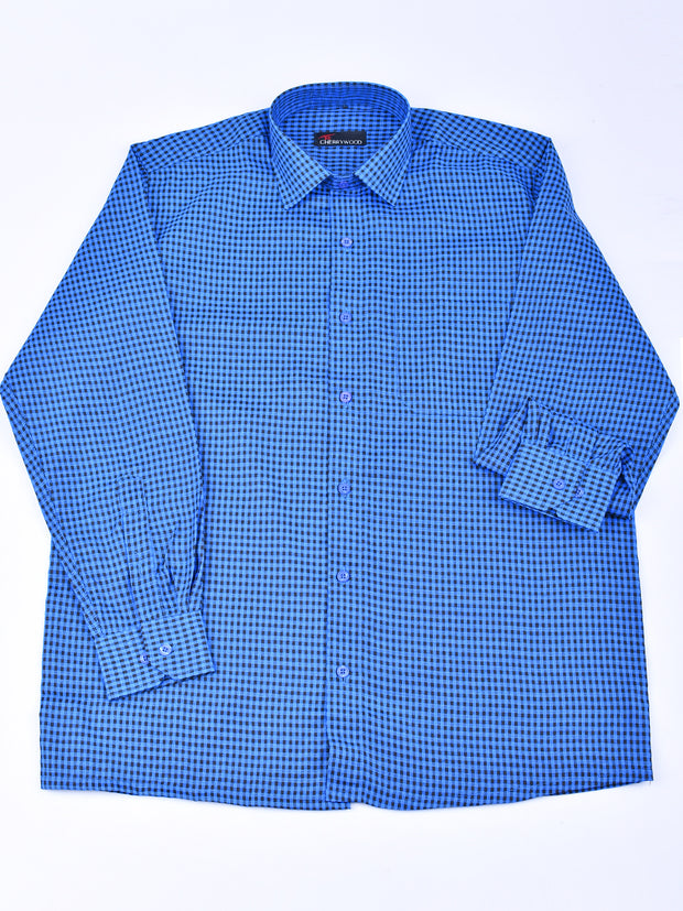 Mens Checks Shirt In Ferozi Blue