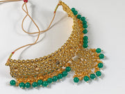 Gold and Green Pearl Choker Costume Necklace Set