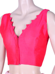 Dupion Silk V Neck Saree Blouse In Hot Pink