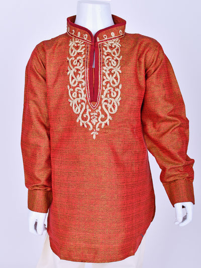 Red Shaded Embroidered Kurta