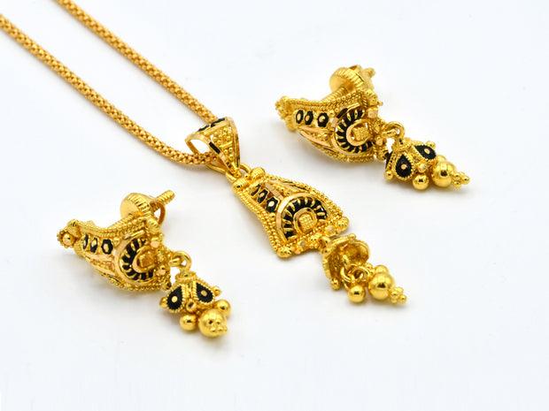 22ct Gold Mina Pendant Earrings Set