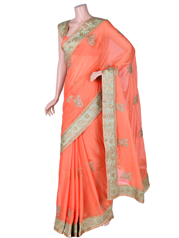 Orange Chiffon Saree
