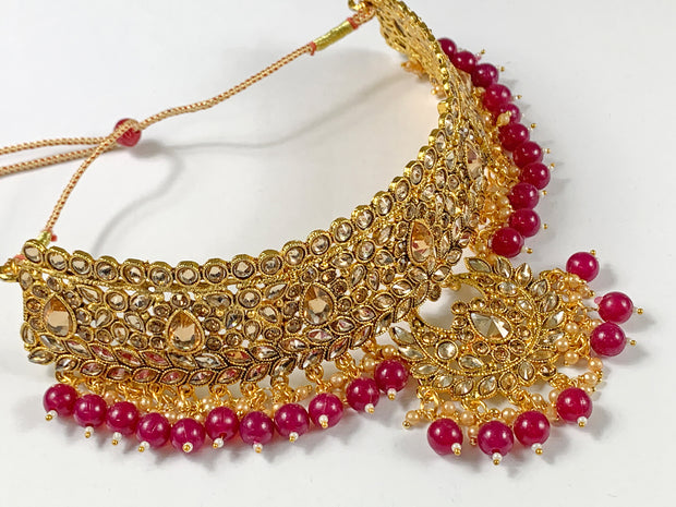 Gold and Maroon Pearl Choker Costume Necklace Set