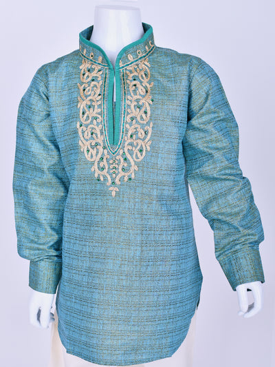 Turquoise Shaded Embroidered Kurta