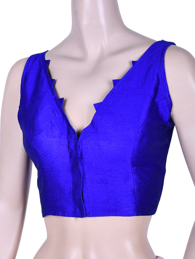 Dupion Silk V Neck Saree Blouse In Royal Blue