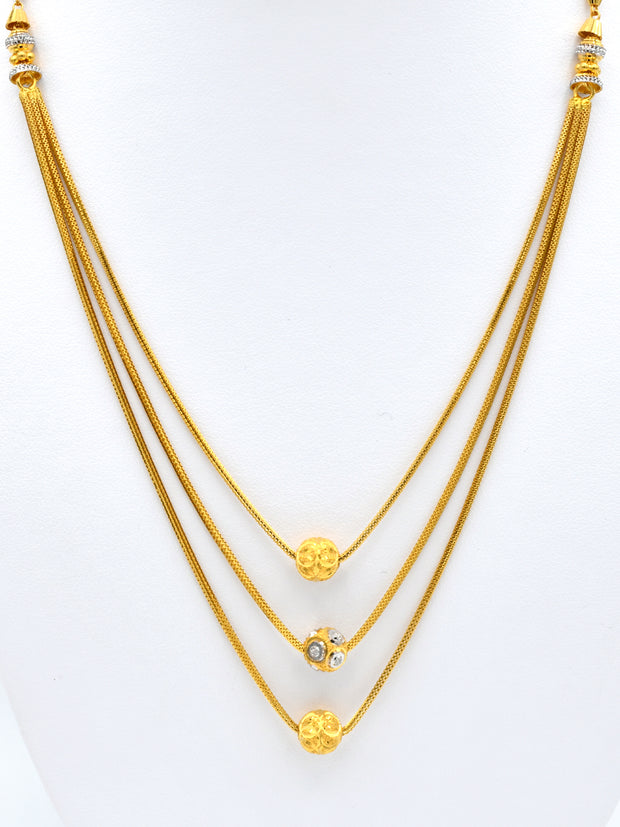 22ct Gold Two Tone 3 Row Ball Chain