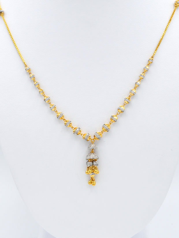 22ct Gold Two Tone Ball Hanging Chain