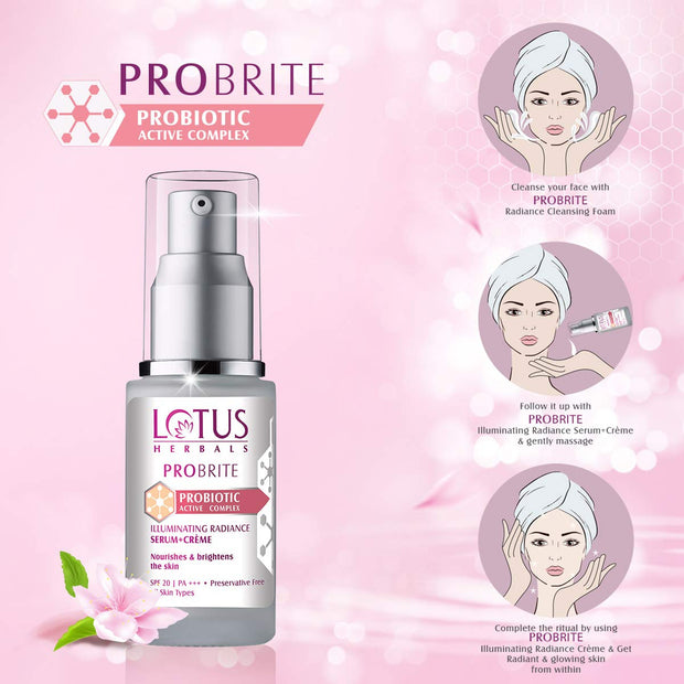 Lotus Herbals PROBRITE Illuminating Radiance Serum+Crème 30ml - Roop Darshan