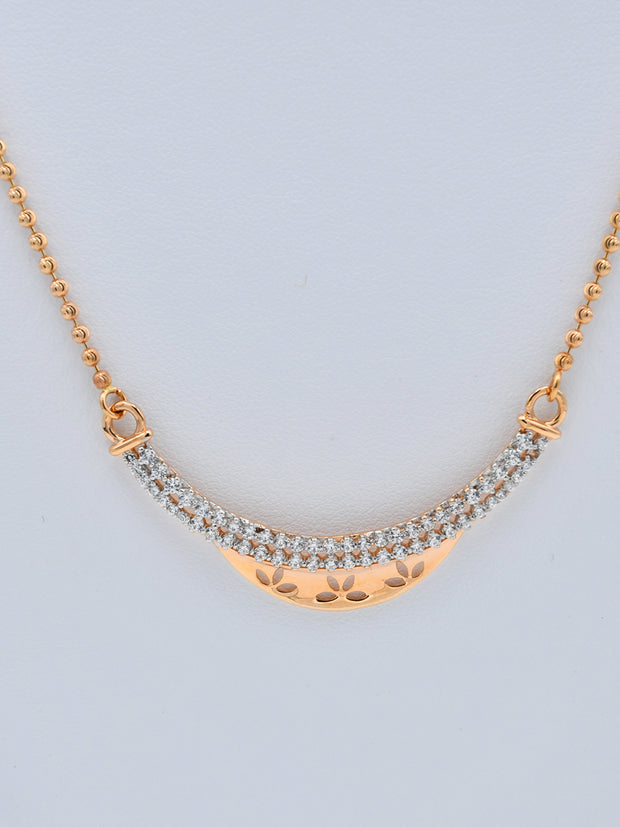 18ct Rose Gold CZ Fancy Chain