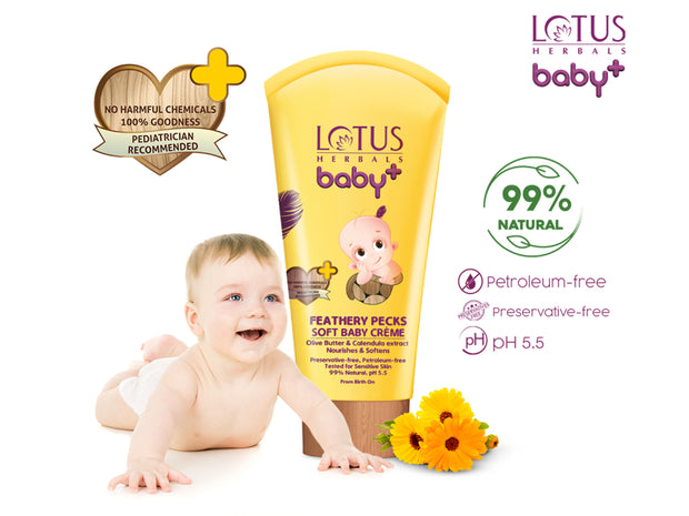 Lotus herbals baby+ Feathery Pecks Soft Baby Crème 50gm - Roop Darshan