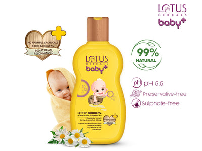 Lotus Herbals baby+ Little Bubbles Body Wash & Shampoo 200ml - Roop Darshan