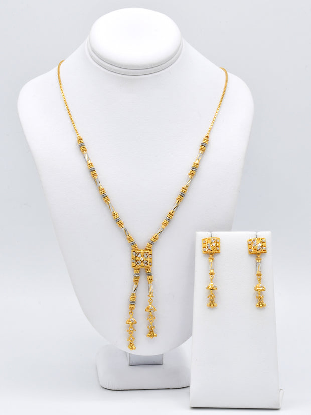 22ct Gold Rhd Necklace Set