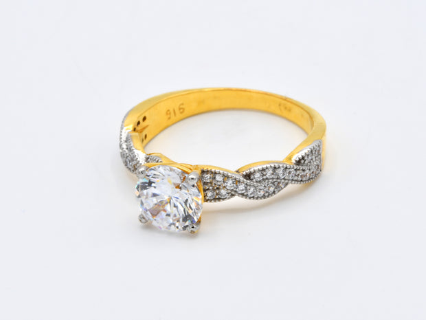 22ct Gold CZ Ladies Ring